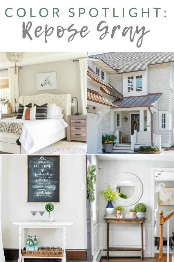 """If you're looking for the perfect """"greige"""" paint to compliment your white farmhouse trim and accents, look no further than Repose Gray by Sherwin Williams."""