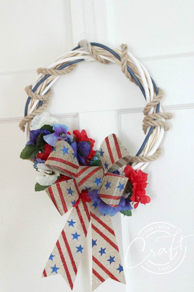 DIY dollar store red white and blue wreath
