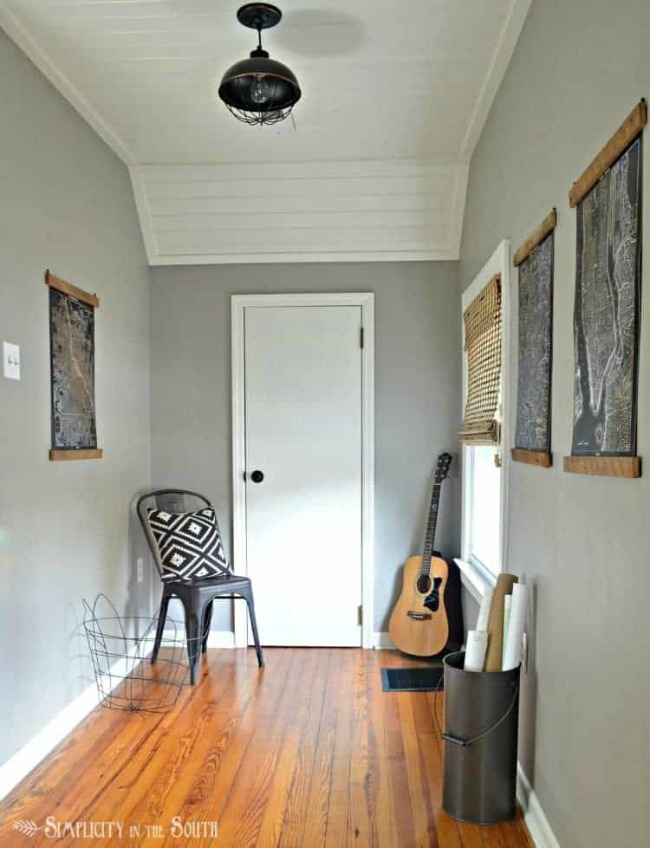 Industrial Style Dormer Bedroom with Dorian Gray painted walls