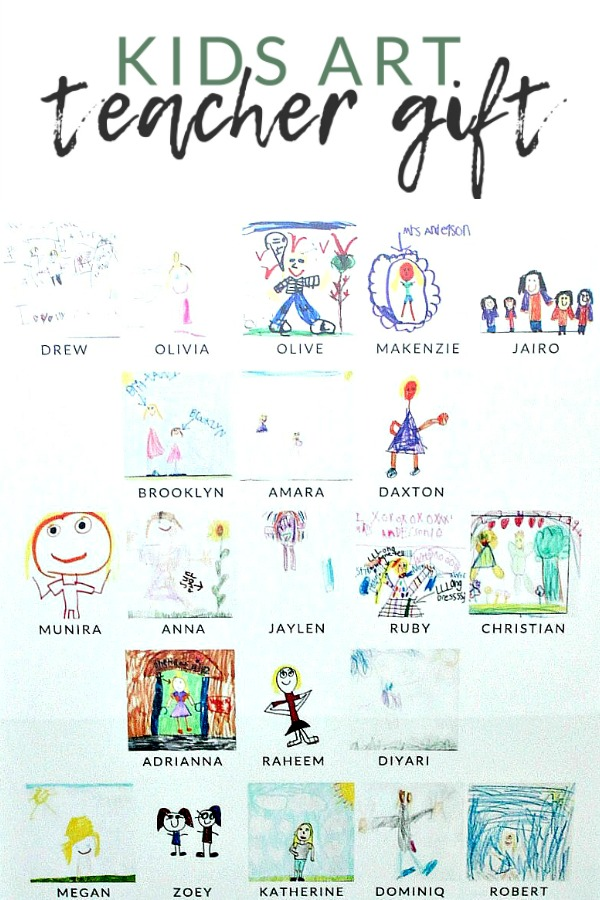 Kids Art Teacher Gift Idea - Put together this kids art teacher gift using drawing from everyone in the class. It's a fantastic, sentimental, handmade, creative teacher gift idea.