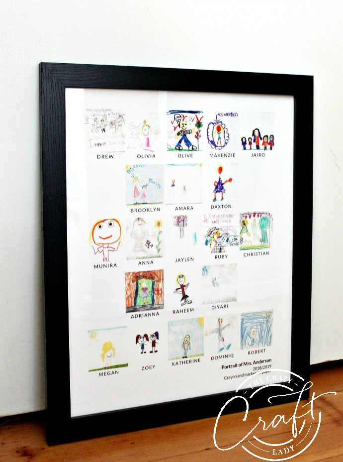 Kids art teacher gift - photo collage made from kids art