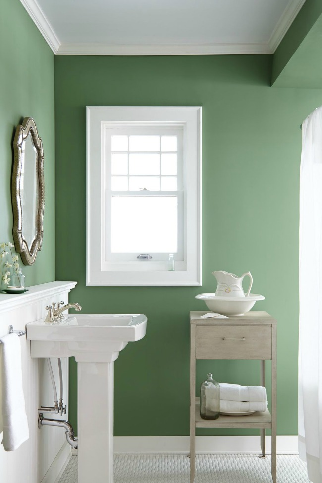 Magnolia green paint on bathroom walls