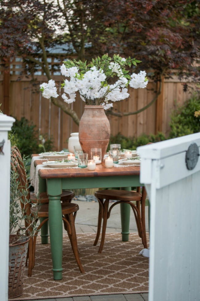 Magnolia green painted garden table