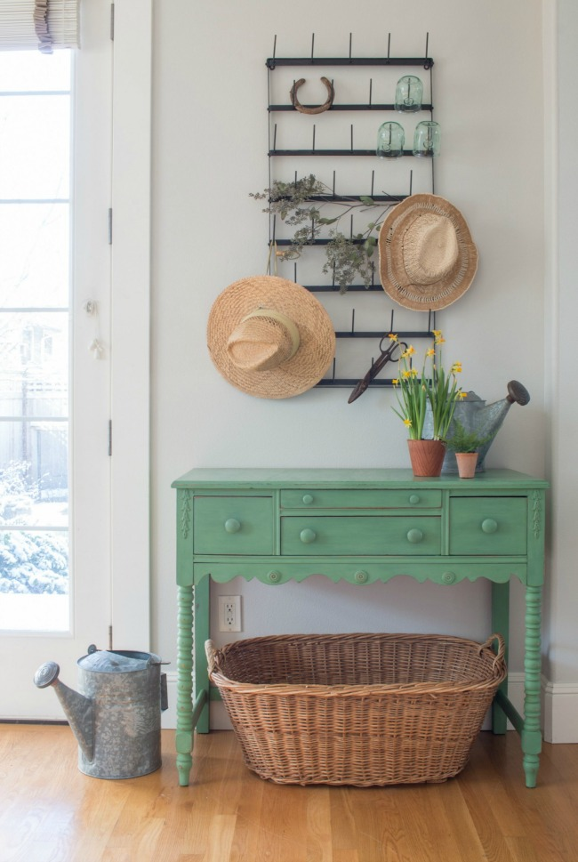 Magnolia green painted side table