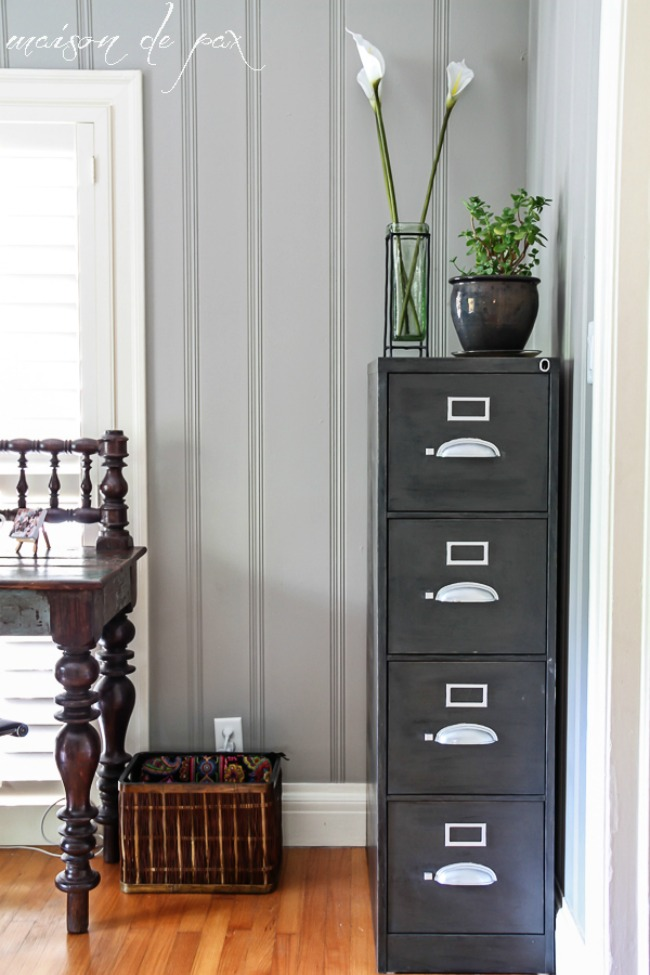 Office Corner with Sherwin Williams Dorian Gray painted wood paneling walls
