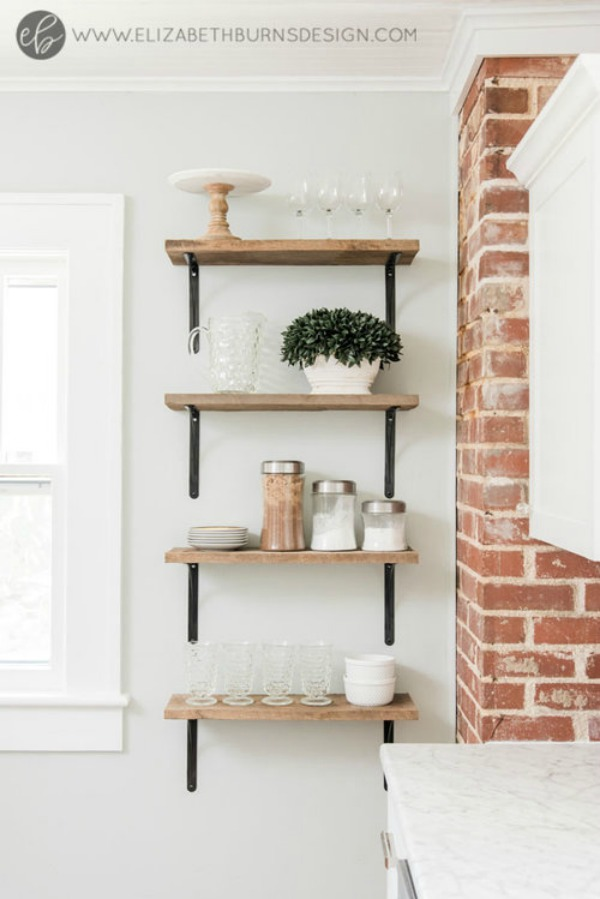 Open Kitchen Farmhouse Shelving and Repose Gray Wall