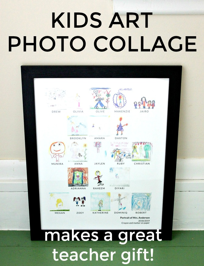 kids art photo collage - teacher gift idea - See how I made a special kids art teacher gift, using drawings from every kid in our kindergarten class this year.
