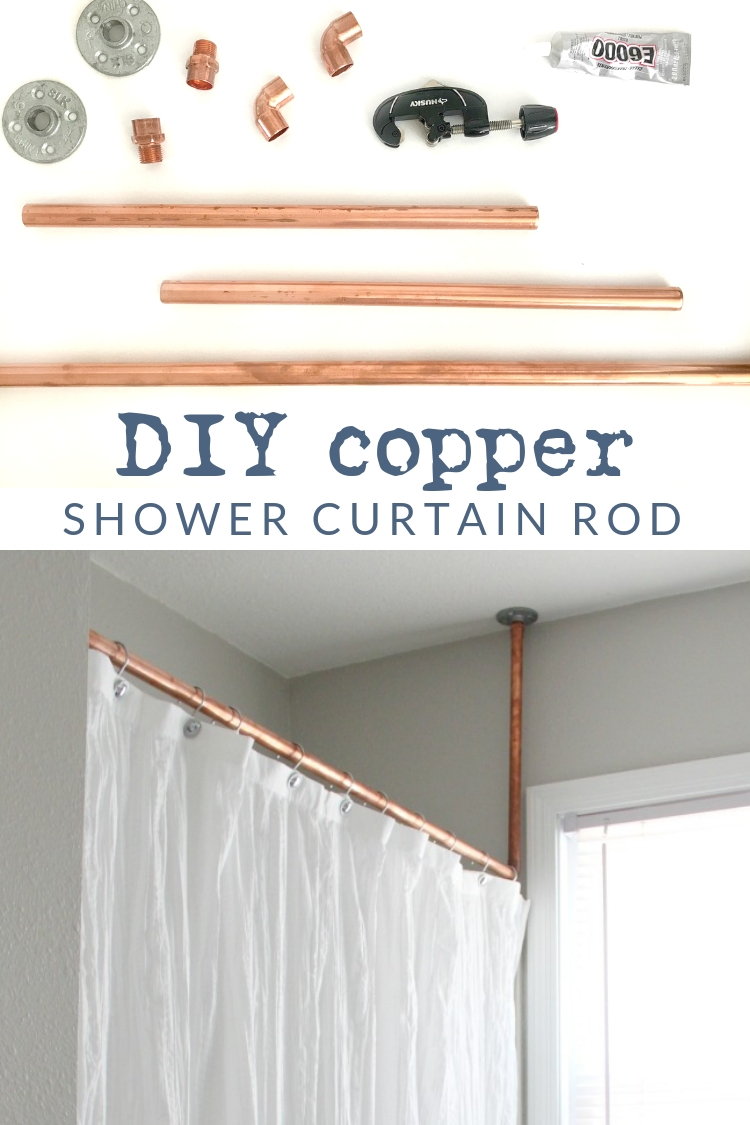 DIY copper pipe shower curtain rod