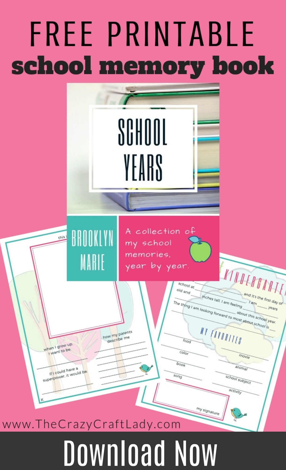 Free Printable School Memory Book - This journal and photo albums focuses on your child's interests and development, so it works no matter if you public school, home school, or private school. The entry sheets include fun prompts and room for notes and pictures. Each year asks the same questions so you can easily see progression year after year.