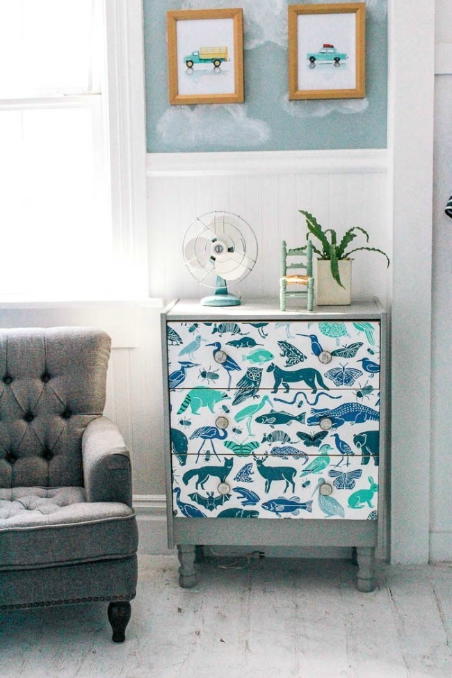 Ikea Rast dresser makeover with wallpaper and paint