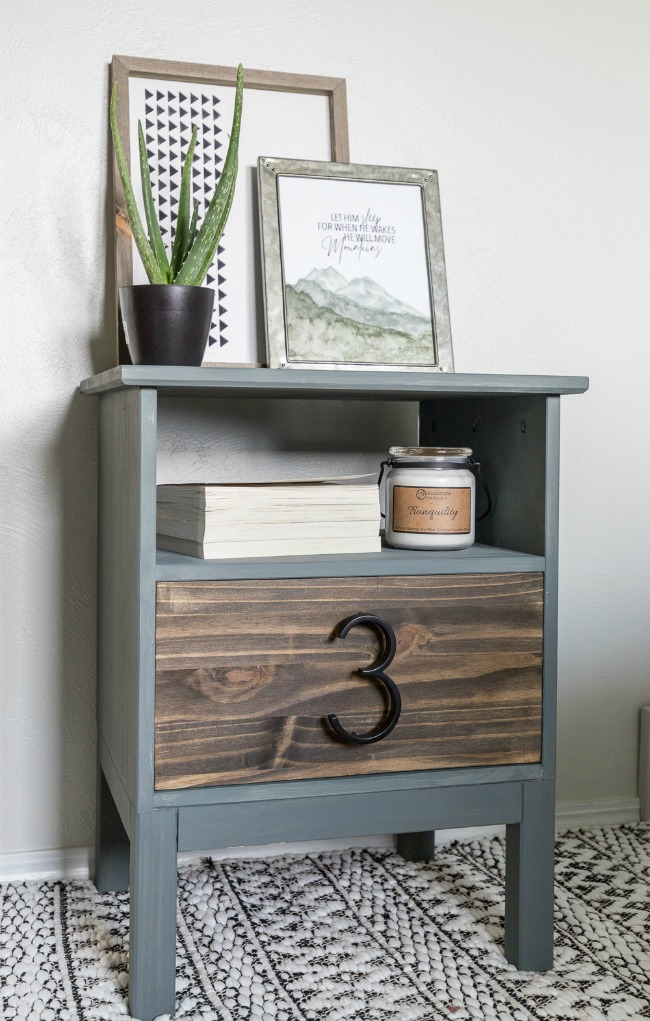 Ikea Tarva Nightstand Hack with navy chalkpaint and modern number detail