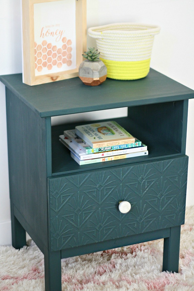 Ikea Tarva Nightstand Makeover with Textured Wallpaper and Emerald Paint