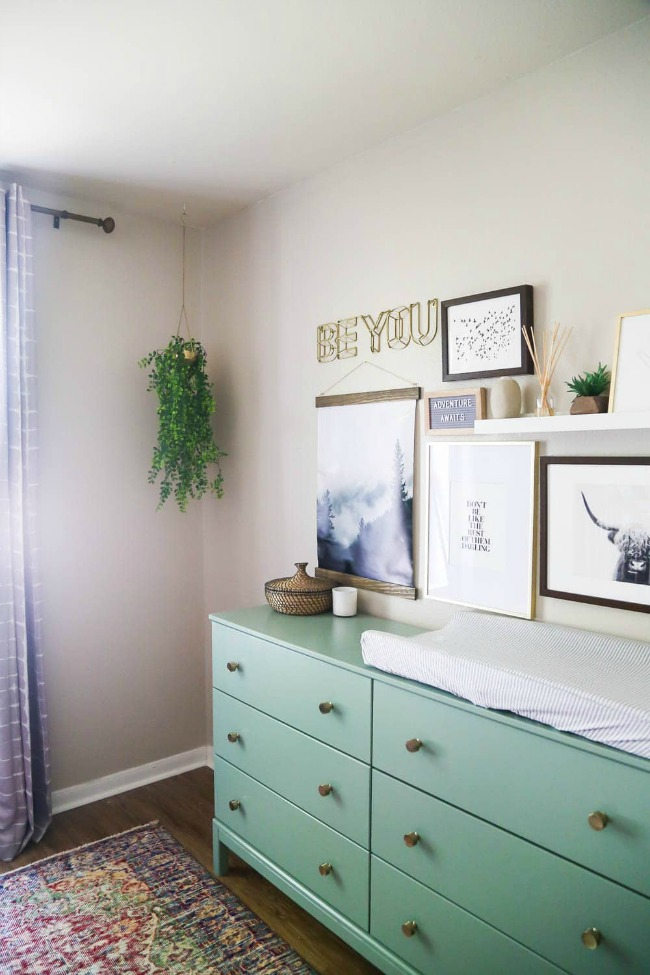 Ikea Tarva dresser and changing table painted green