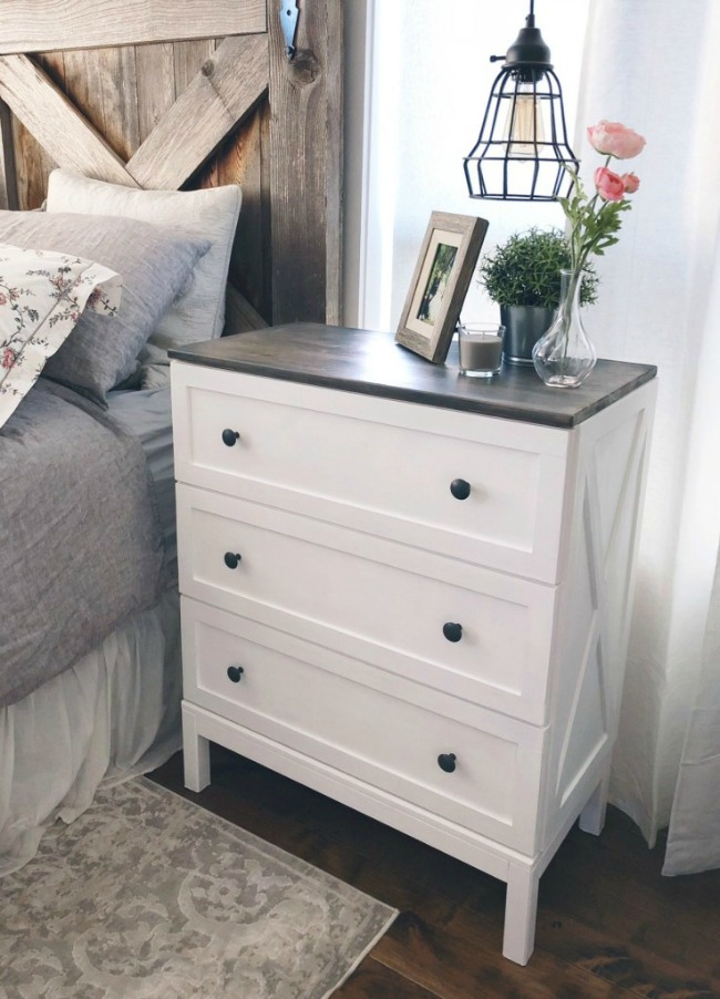 Ikea Tarva dresser with framing overlay and white paint