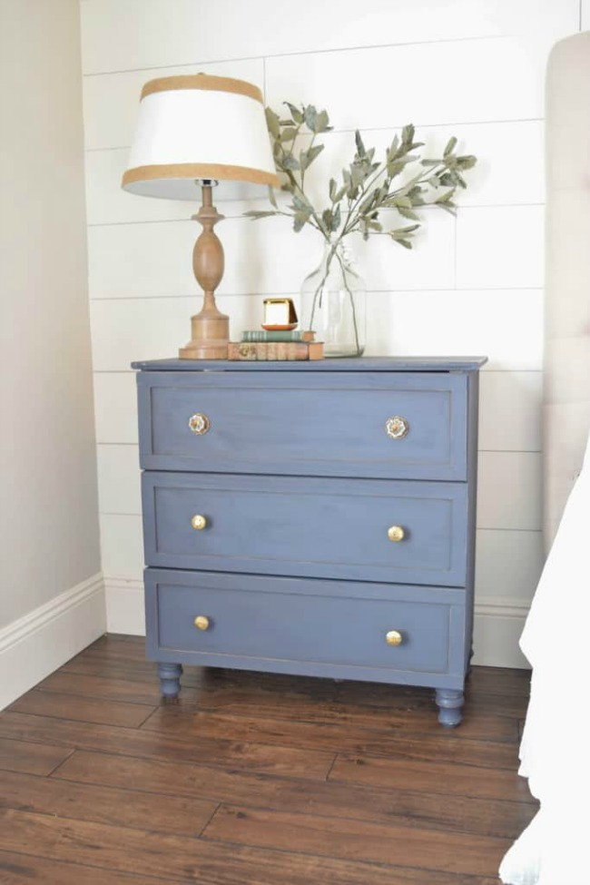Ikea Tarva hack with distressed navy paint and gold drawer pulls