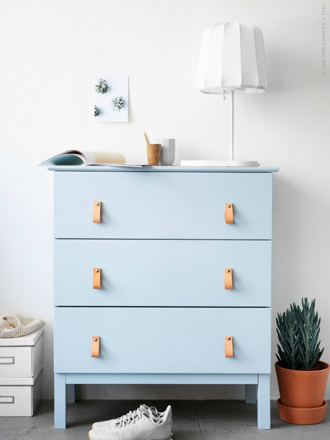 Ikea Tarva painted powder blue with leather drawer pulls