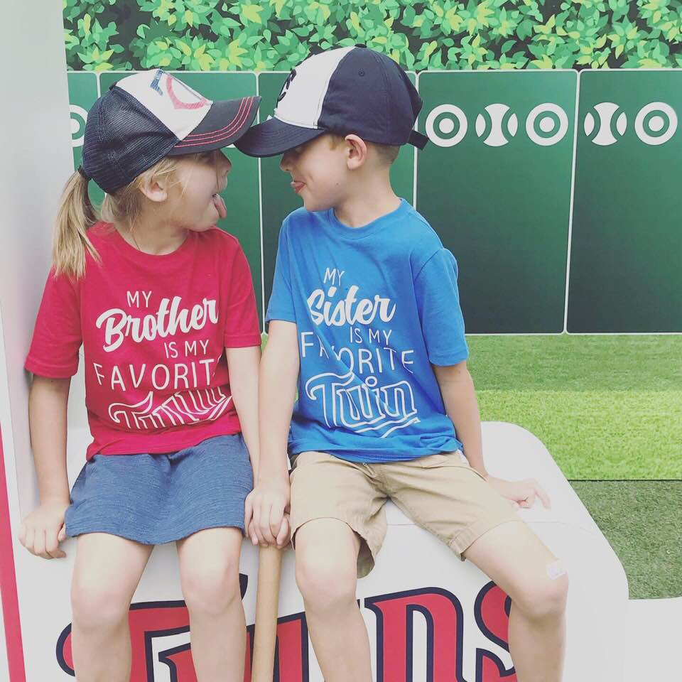 MN twins t-shirts for twin brother and sister