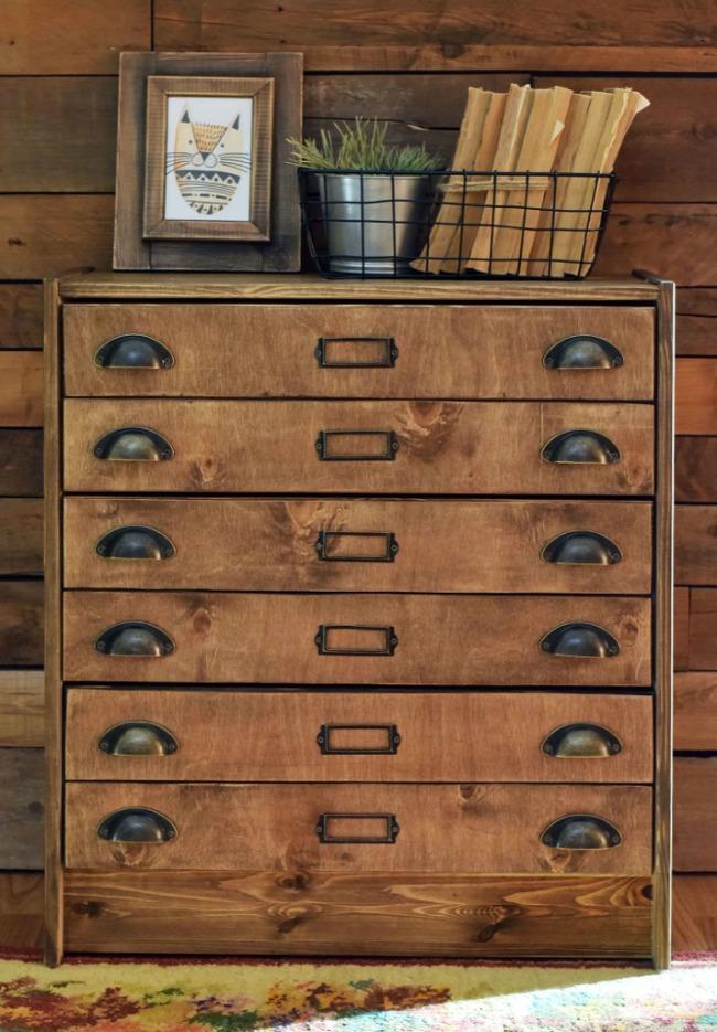 Rustic Ikea Rast hack - apothecary cabinet