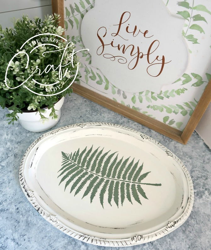 Botanical Painted Dollar Store Tray - Transform a silver dollar store serving platter with chalk paint and a stencil