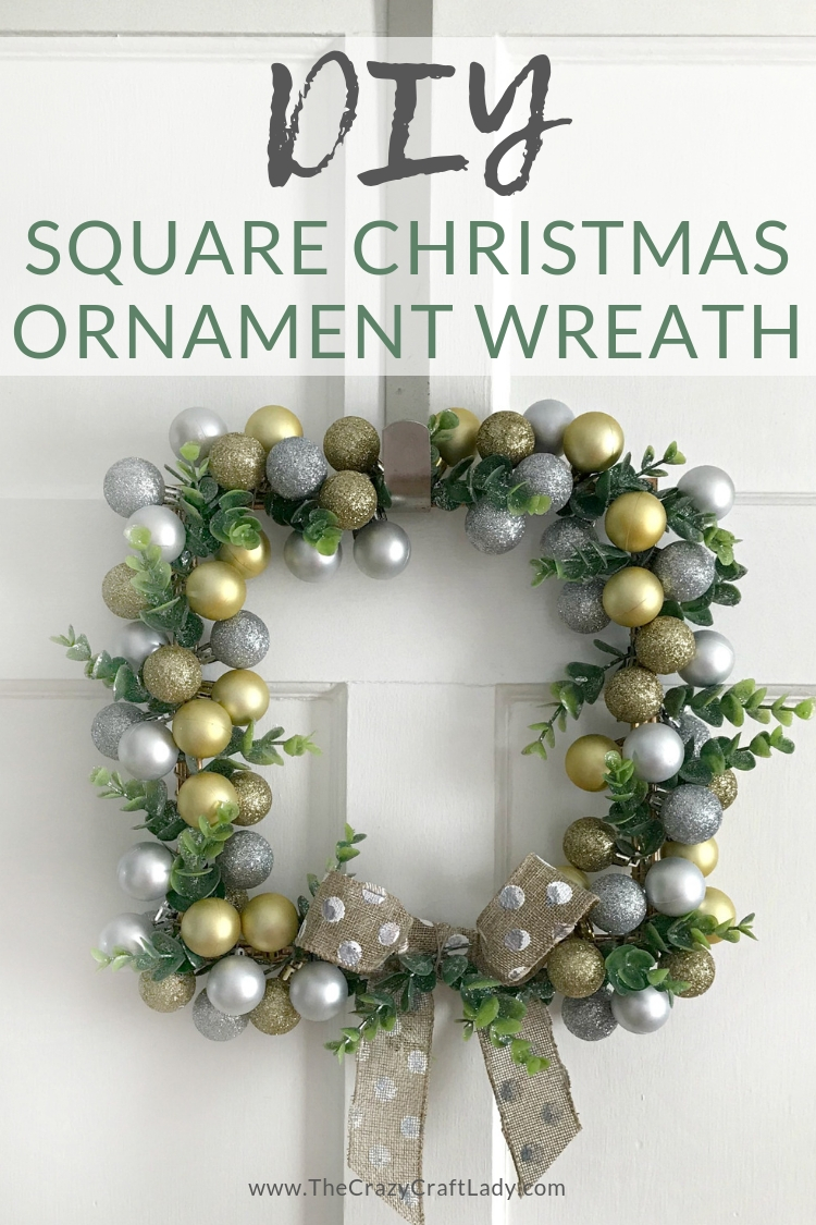 DIY square Christmas ornament wreath - a cute silver and gold Dollar Tree Christmas ornament wreath