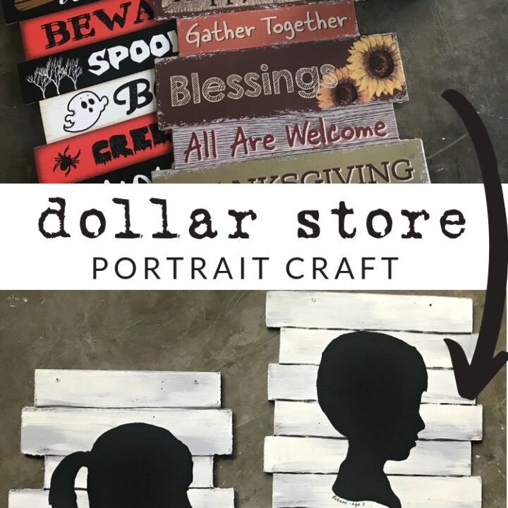 Watch this tutorial to see how to paint a kids silhouette portrait over a Dollar Tree seasonal decor hanger, using chalk paint.