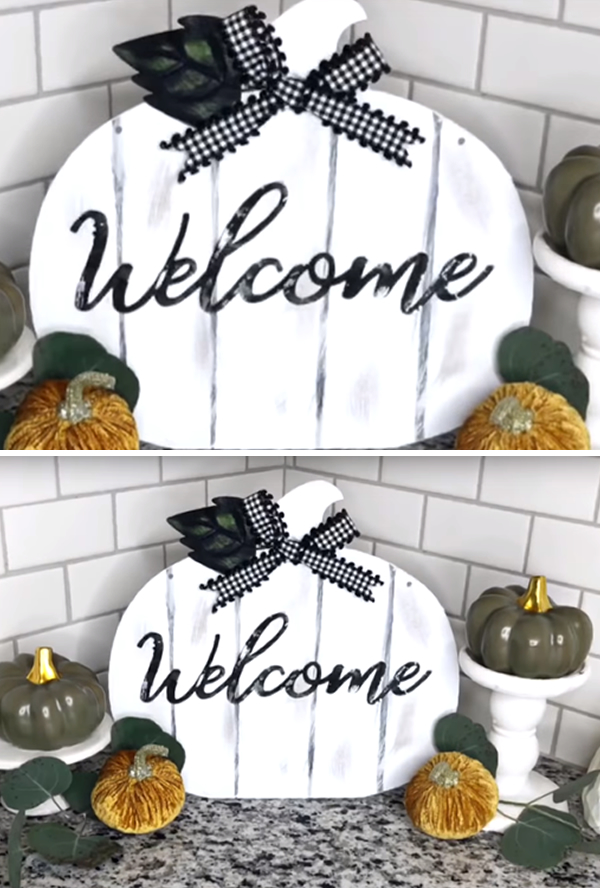 Farmhouse Dollar Store Welcome Pumpkin Sign
