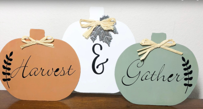 Harvest and Gather Dollar Store Pumpkin sign