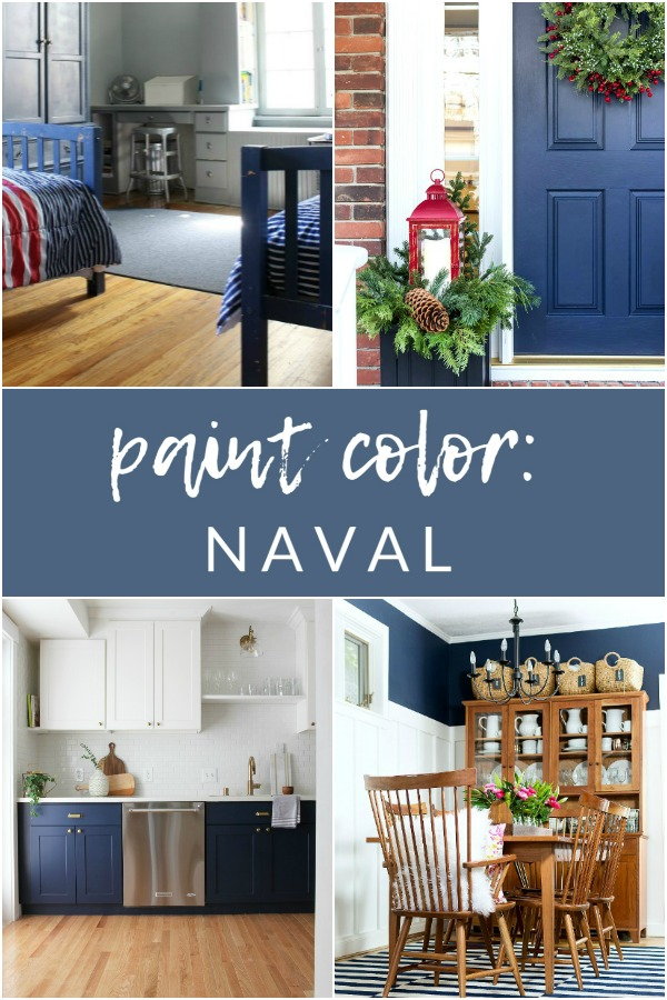 If you're looking for a fantastic, deep navy paint accent your home decor pieces or walls, look no further than Naval by Sherwin Williams.