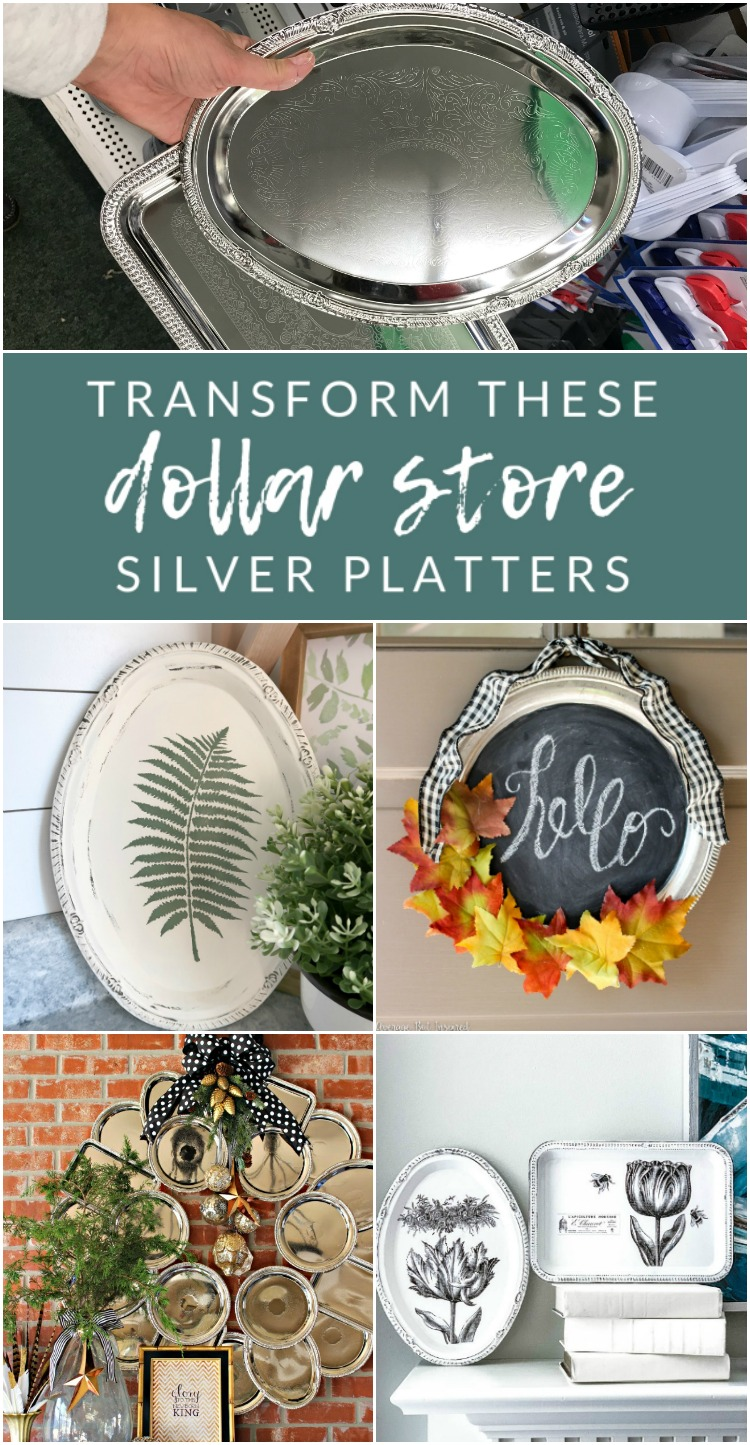 Transform these Dollar Store Silver Platters - Grab a few dollar store serving trays and your craft supplies, because these dollar store tray DIYs and upcycling ideas are absolute crafting genius!