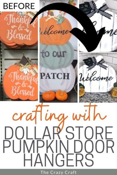 crafting with dollar store pumpkin door hangers