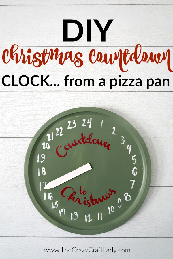 Grab a metal pizza pan and transform it into a Christmas countdown clock craft using chalk paint and this FREE printable template. A fun dollar store craft to help prepare for Christmas!