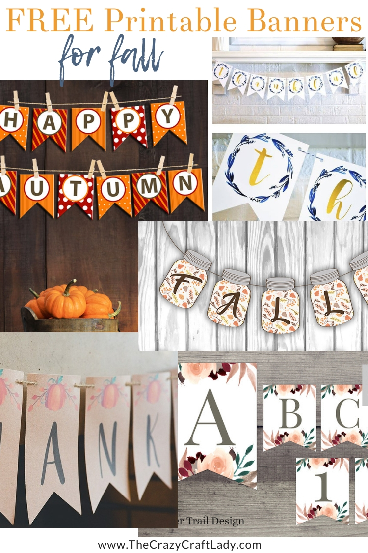 "FREE Printable Banners for Fall -- I LOVE these printable banner ideas - especially great if you want to make a ""custom"" looking banner without a Cricut or Silhouette machine. Just print your letter pendants! Hang a fall banner in a large window or across your mantel or bookcase."