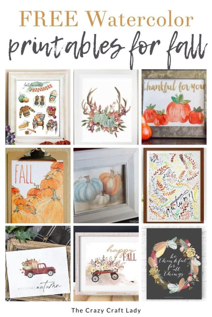 Fall Watercolor Printable Art
