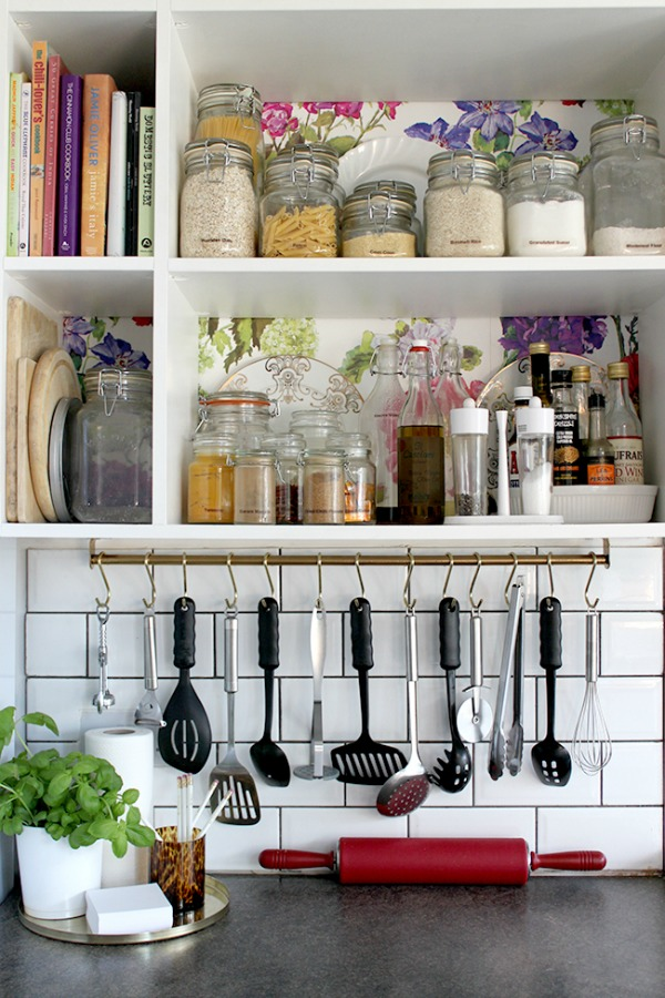 Open kitchen shelving with Ikea Grundtal Rail for hanging storage underneath