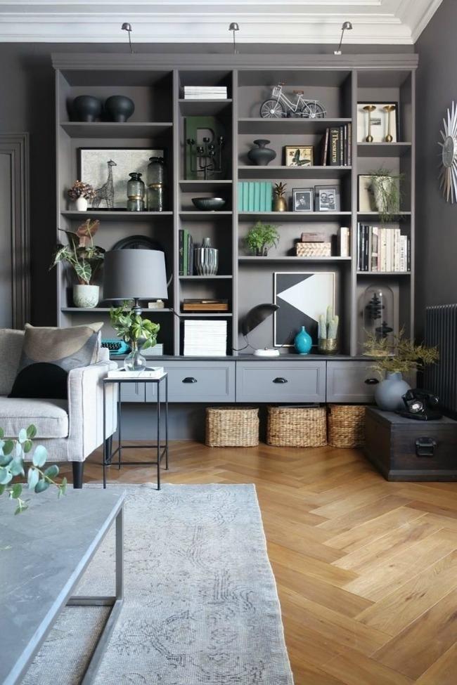 dark gray painted Ikea custom built in bookcases