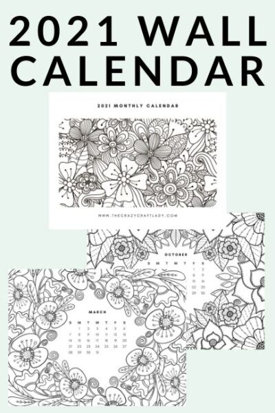Download and print this FREE adult coloring calendar with 12 coloring book style coloring pages. This wall calendar can be printed, colored, and hung in your home or office. Free 2021 calendar.
