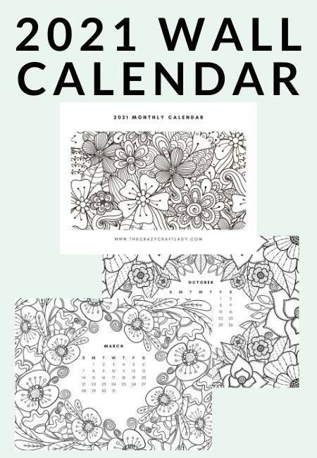 Free Printable 2021 Adult Coloring Calendar - The Crazy Craft Lady