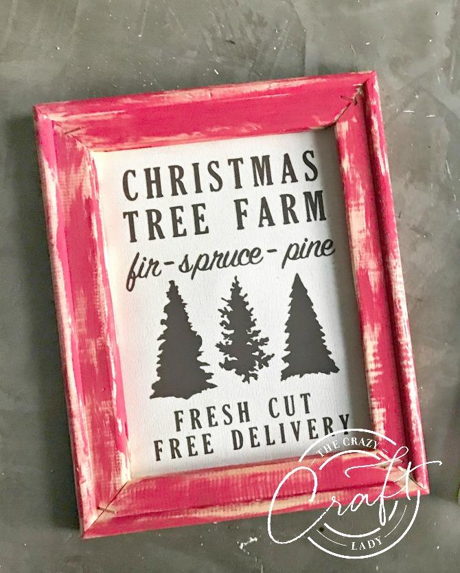 Christmas Tree Farm Reverse Canvas with Heat Transfer Vinyl
