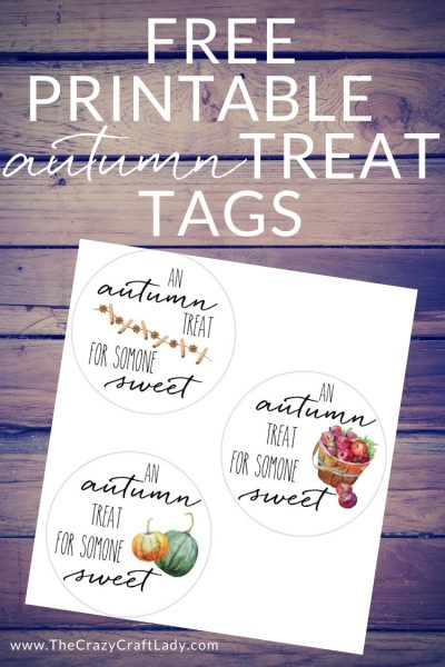 """Download and print these """"Autumn Treats"""" gift tags - to top a mason jar of jam, tie to a fresh bunch of flowers, or attach to a loaf of pumpkin bread of a basket of fresh apple cinnamon muffins."""