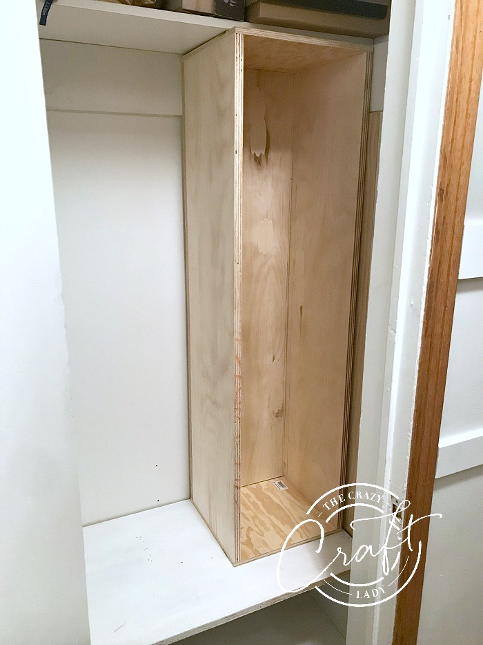 DIY closet shelves and cubes from plywood
