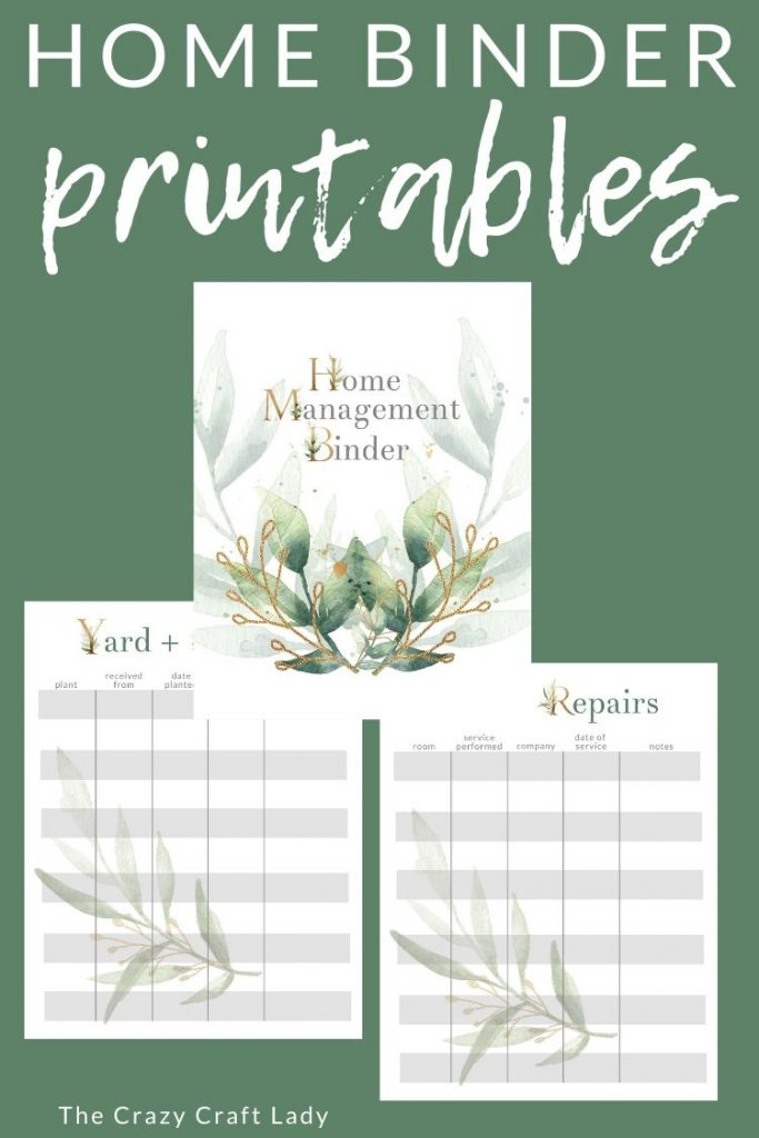 Download these FREE printable home management binder sheets - for tracking home maintenance and repairs, paint colors, yard projects, and more.