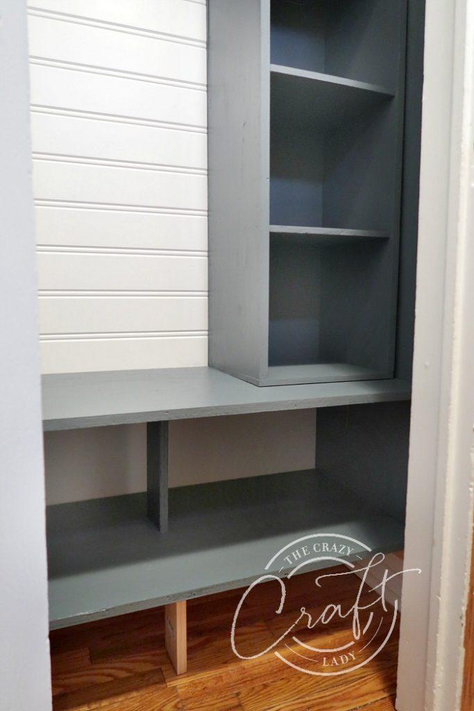 Navy blue closet cube shelving