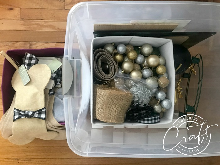 sorting and storing Christmas decorations