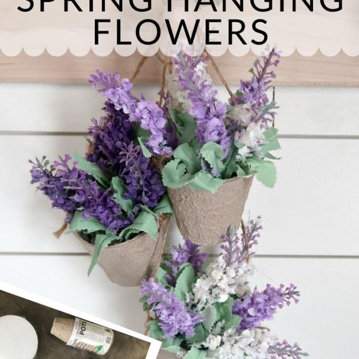 Dollar Store Spring Hanging Flowers - made from paper seed starting pots and dollar store silk lavender flowers