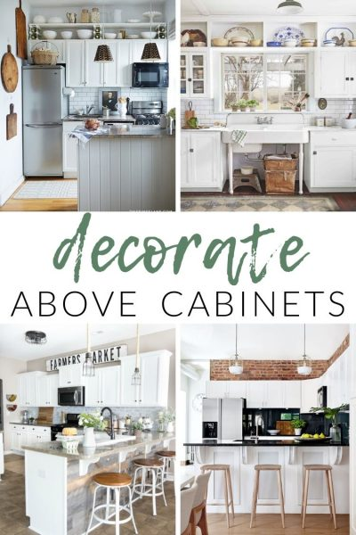 Not sure what to do with that awkward space between your upper cabinets and the ceiling? I'm sharing inspiration and ideas for how to decorate above kitchen cabinets.