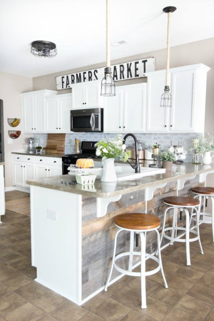 Modern Farmhouse Kitchen with Oversized Sign Above Kitchen Cabinets