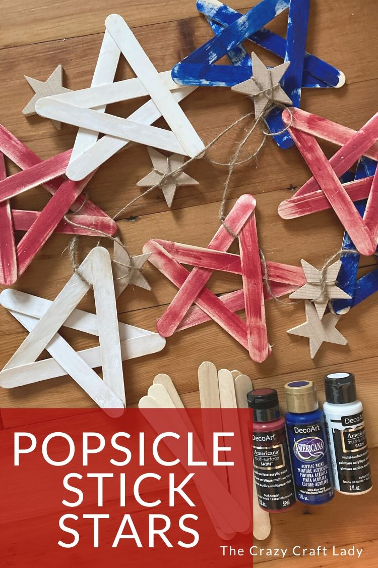 Red White + Blue Popsicle Stick Stars