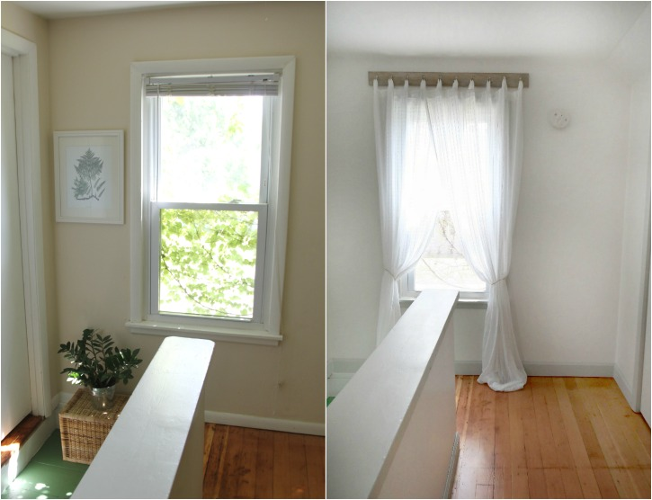 before and after - upstairs hallway and window