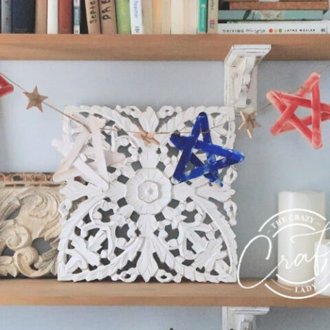 red white blue popsicle stick star garland