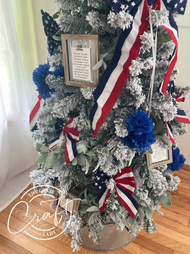 Red white and blue 4th of July Christmas tree
